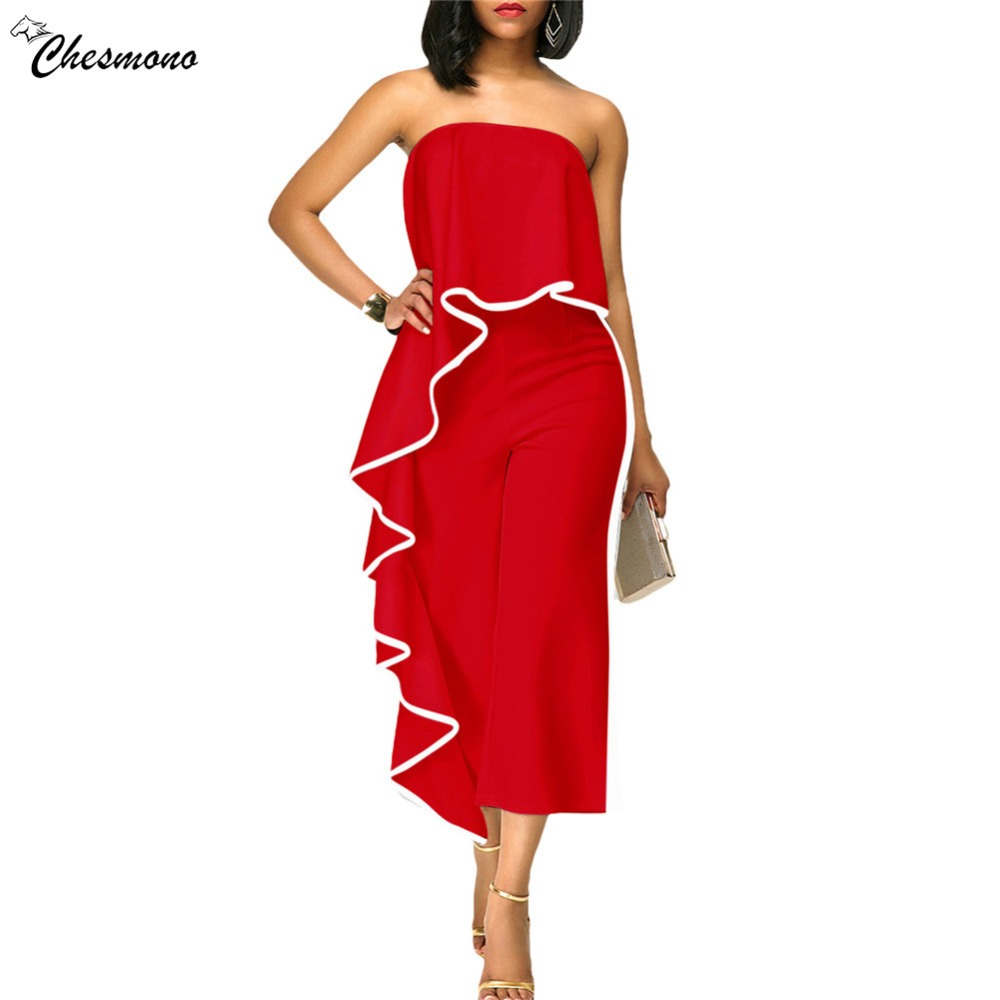 ruffle Wide Leg Jumpsuit 2018 Women Summer solid Off Shoulder Wrapped Chest Jumpsuit Wide Leg Pants Rompers white red color