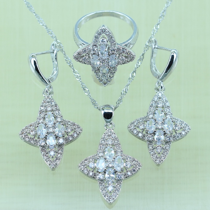 Flawless White Rhinestone Jewelry Set For Women Silver color AAA Zircon with 925 logo Rings/Earrings/Necklace