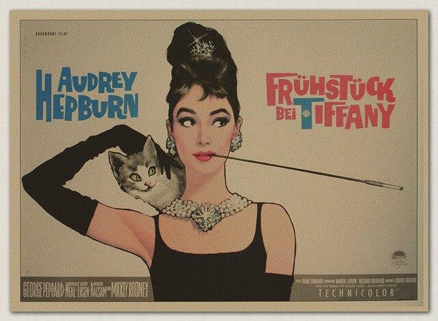 Retro Art Woonkamer : Audrey hepburn film vintage oud papier posters woonkamer retro art