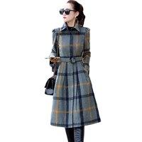 Thời trang Cổ Điển OL Phong Cách Mùa Thu Mùa Đông Kẻ Sọc Thắt Trench Coat Single-breasted Dài Tay Áo Khoác cho Phụ Nữ 3XL Cộng Với kích thước XH942