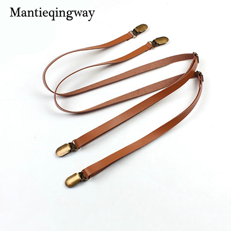 Mantieqingway Unisex Suspenders Mens 4 Clips Adjustable PU Leather Suspenders Belt Skinny Braces Adult Women Buckle Straps