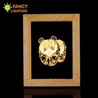 3D Cartoon bedside lamp Panda table lamp novelty Night Light for Children Wooden bed lamp for home/bedroom/gift/kids tafellamp