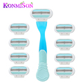 Women's Hair Removal Kit 1pcs Razor Handle & 8pcs Razor Blades Handle Replacement Triple Blade Epilator Female For Shaving