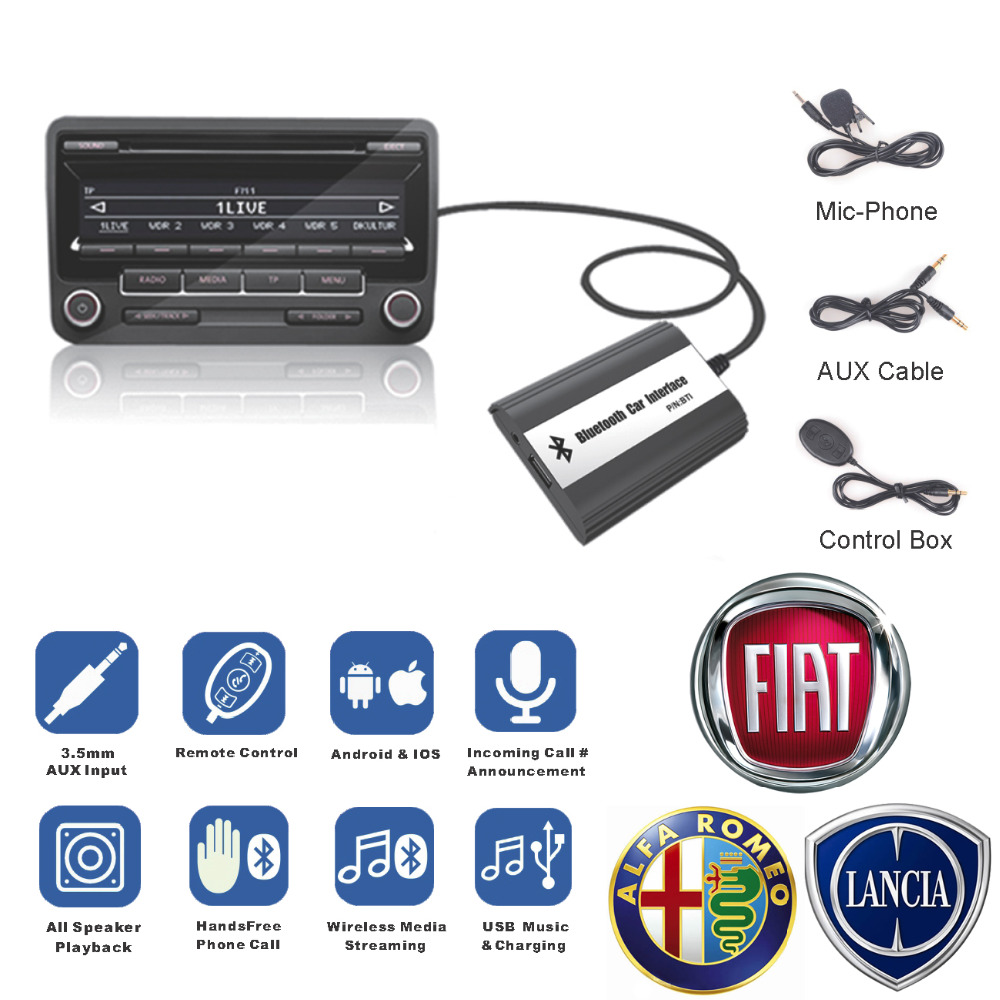 Bluetooth Receiver Car Kit Hands Free Phone Call Wireless Music Adapter for Alfa Romeo 147 156 159 Brera Spider GT MiTo auto car usb sd aux adapter audio interface mp3 converter for alfa romeo alfa mito 2008 2010 fits select oem radios