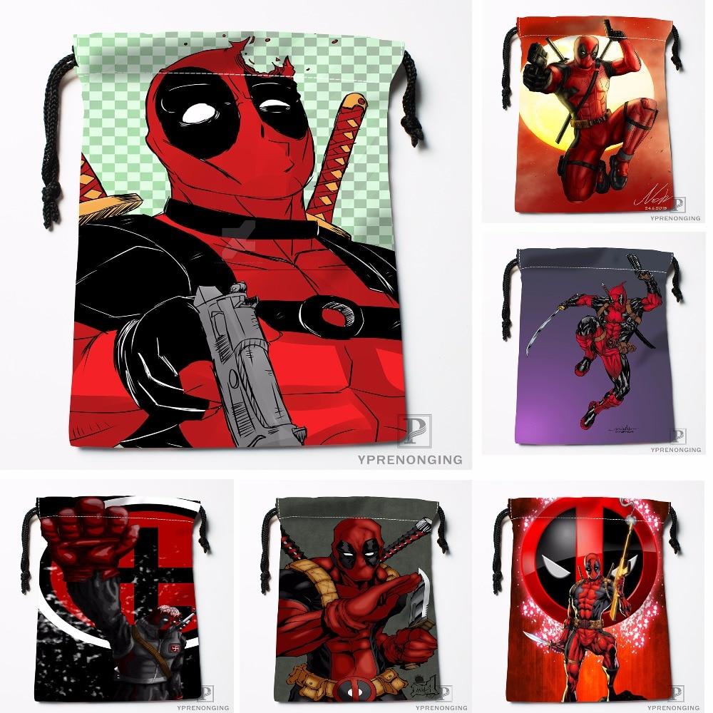 Custom Cool Logo Deadpool Drawstring Bags Travel Storage Mini Pouch Swim Hiking Toy Bag Size 18x22cm#0412-04-228