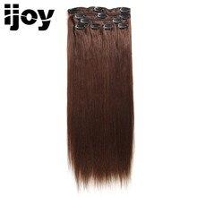DOBRÉ VLASY Straight Brazilian 100% Virgin Hair Clip v lidských vlasových prodlouženích Weave Bundles 7 ks / Set Natural Color 110G