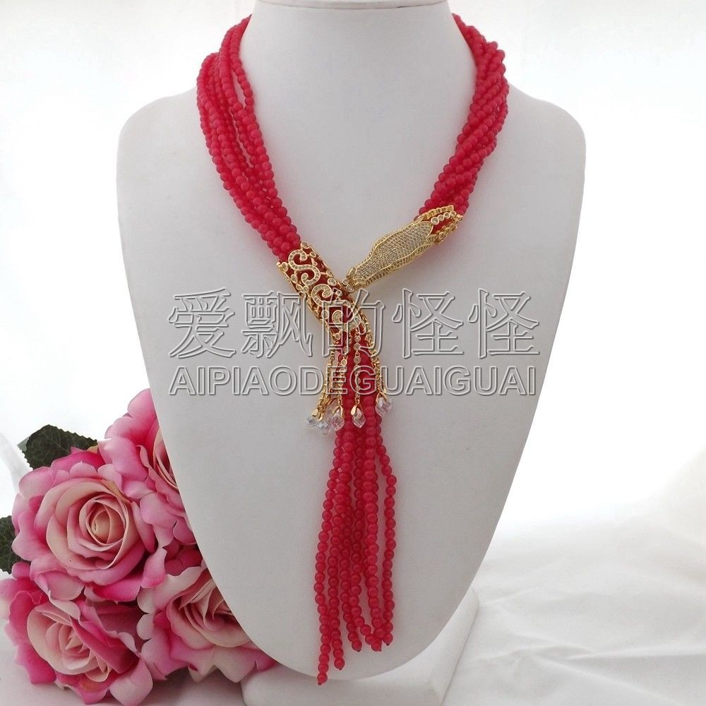 N091204 collier pendentif 7 brins 18 ''pierre rouge Dragon CZ - 2