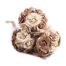 Burlap Rose Artificial Flowers Bouquet Jute flowers For Home Wedding Party Car Decor Scrapbooking Bouquet Burlap Flower WED2562