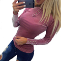 Casual Green Button Vlevet T Shirt Slim O Neck Long Sleeve Blue Bodycon Women Tops Streetwear Pink Tee Shirt