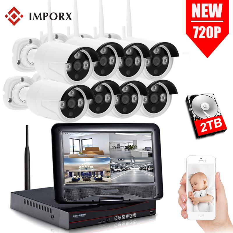 IMPORX 8CH 720P CCTV Kits With 10 Inch LCD IP Video Surveillance Set 1.0 MP IR Outdoor Security Camera 1TB 2TB HDD CCTV NVR KitIMPORX 8CH 720P CCTV Kits With 10 Inch LCD IP Video Surveillance Set 1.0 MP IR Outdoor Security Camera 1TB 2TB HDD CCTV NVR Kit