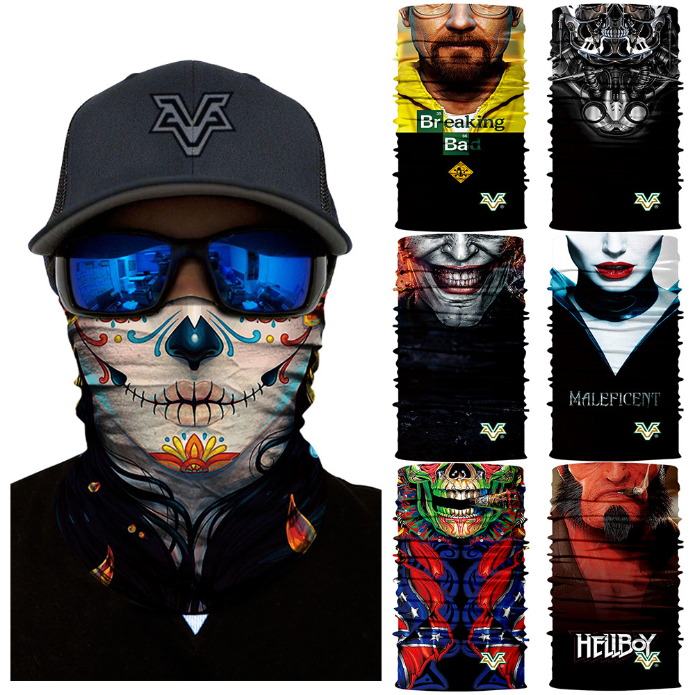 3D Seamless Balaclava Comics Face Mask Outdoors Neck Warmers Magic Women Buff Bandana Hunting Ski Halloween Magic Bandanas Scarf