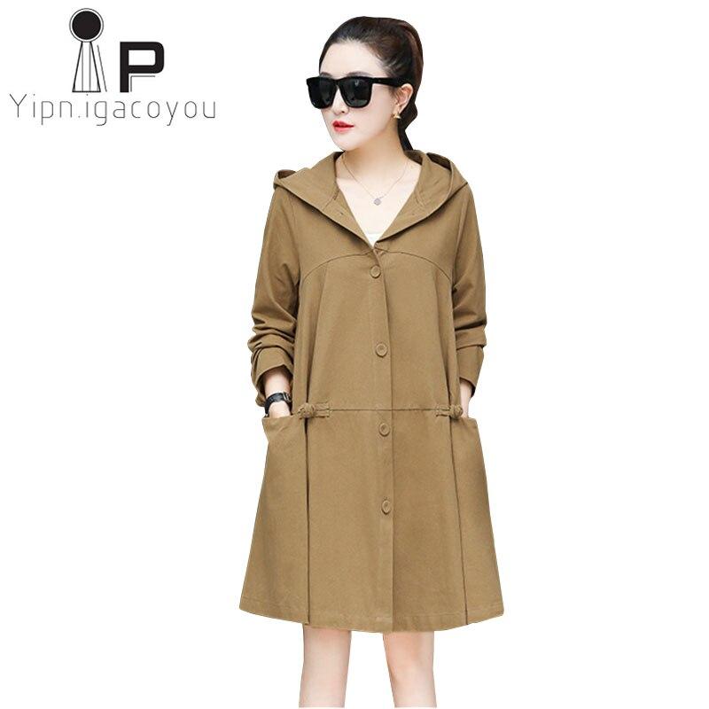 Oversized Trench Coat Women Long Windbreaker Plus size Loose Hooded Overcoat Women Fashion Outwear Casual Black