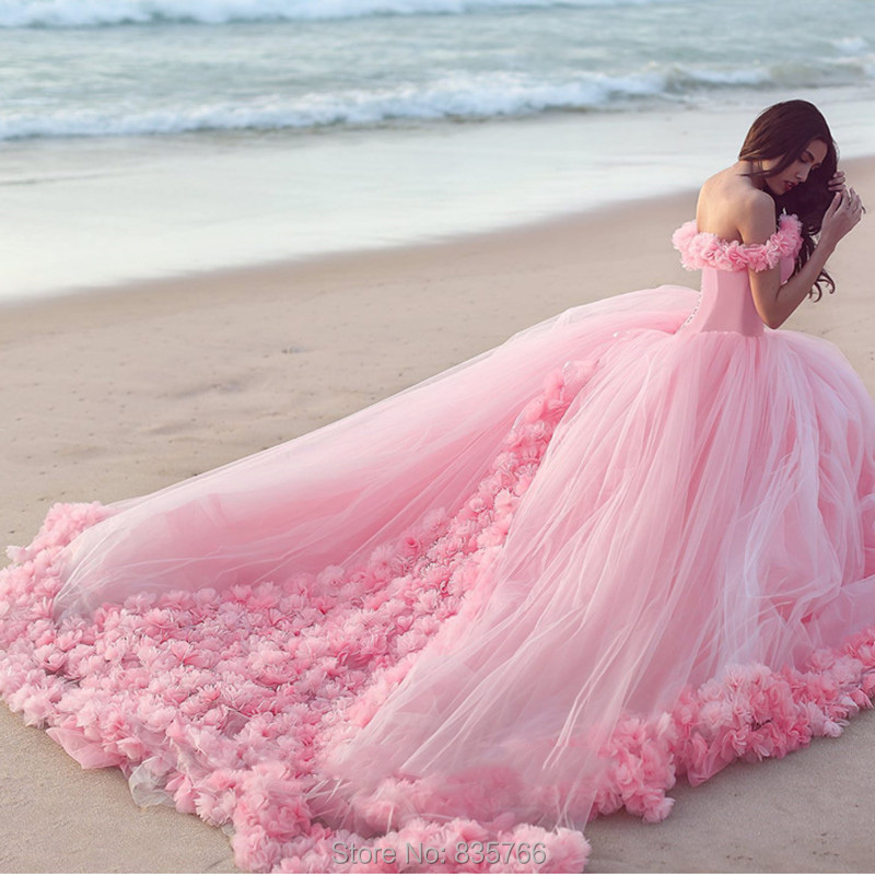 Handmade flounced tulle ball gown luxury pink blue for Pink and blue wedding dresses