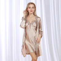 2017 Fashion Spring Summer High Quanlity Smooth thin Full Sleeve Women'sV Neck Sexy Solid Color Nightwear Sleepwear 2set WP302