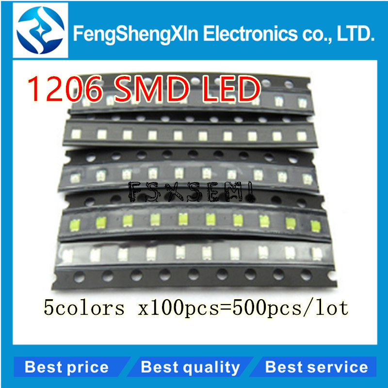 500pcs/lot New 1206 SMD LED  Red/Green/Blue/Yellow/White  5values colors each 100pcs