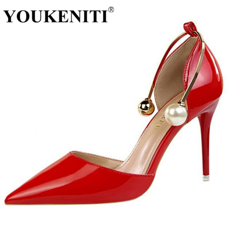 YOUKENITI New Sexy Pumps Woman S High Heels Wedding Shoes Red Color Shoes Patent Leather Fashion Womens Shoes DS923 13