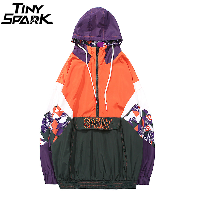 Harajuku Bloc de Couleur Veste À Capuche Coupe-Vent Broderie Hommes Hip Hop Vestes Manteau Streetwear Moitié Piste Zip Veste 2018 Automne