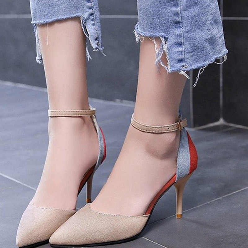 a3bf4920c44 ... Women Ankle Strap Two Pieces Spring Pumps Ladies Buckle Pointed Toe New  Suede Thin High Heels ...
