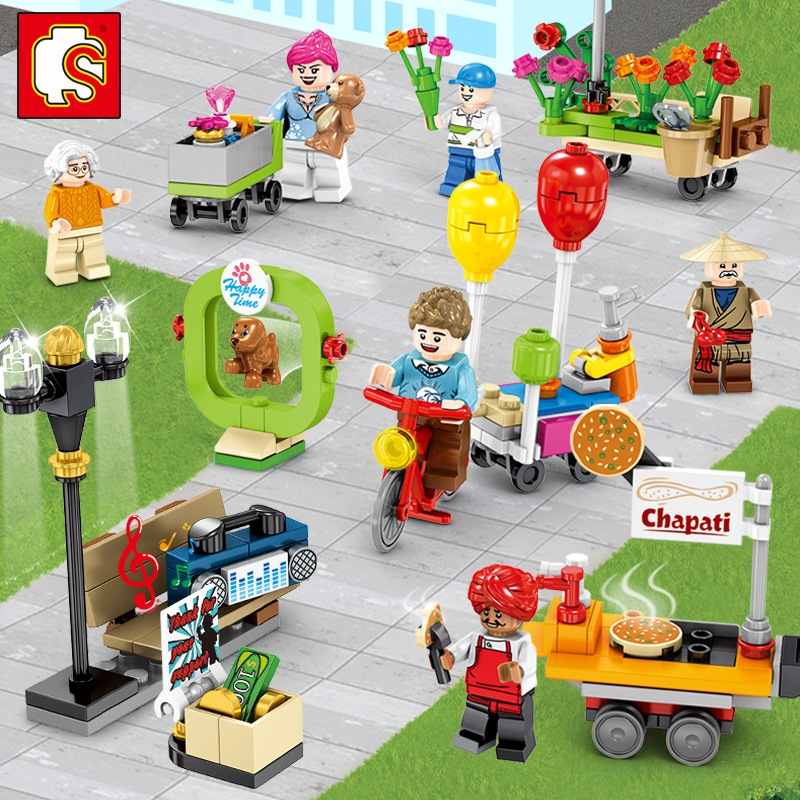 SMBO BLOCK Cartoon Children's Puzzle Scene Street View Building Blocks Small Particles Spelling Toy DIY