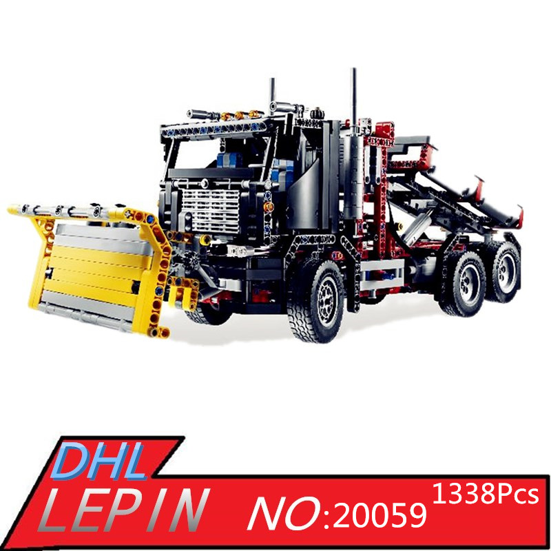 Lepin 20059 1338Pcs Mechanical Serie The Logging Truck Set Children Educational Building Blocks Bricks Children Toys Model 9397 lepin 06058 ninja serie die tempel der ultimative ultimative waffe modell bausteine set kompatibel 70617 spielzeug fur kinder