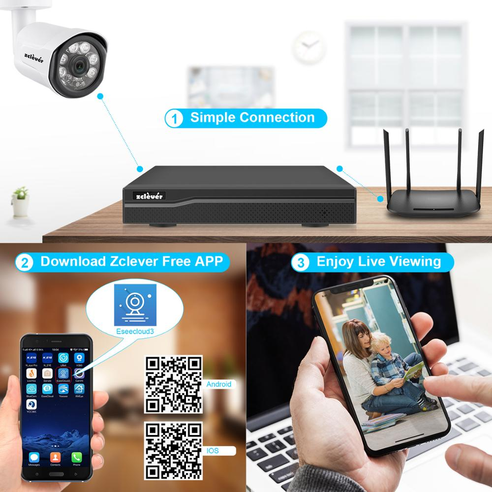 Hot Sale] Zclever 1080P PoE Home Security Camera System, 4