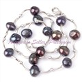 "Free Shipping 6-8mm Freeform Natural Black Pearl Gem Stone Beads Bend White Silver Plate Necklace Fashion Finished 16"" Wholesale"