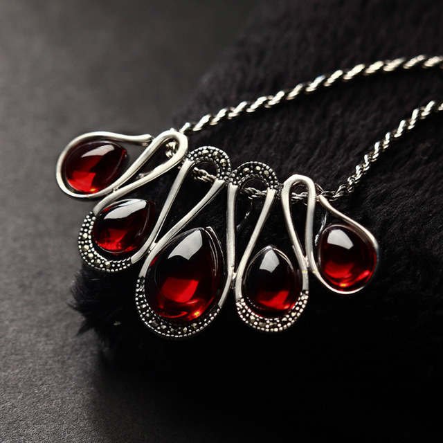 Long baolong 925 sterling silver jewelry silver garnet pendant long baolong 925 sterling silver jewelry silver garnet pendant pendant new autumn ladies sweater mozeypictures Image collections