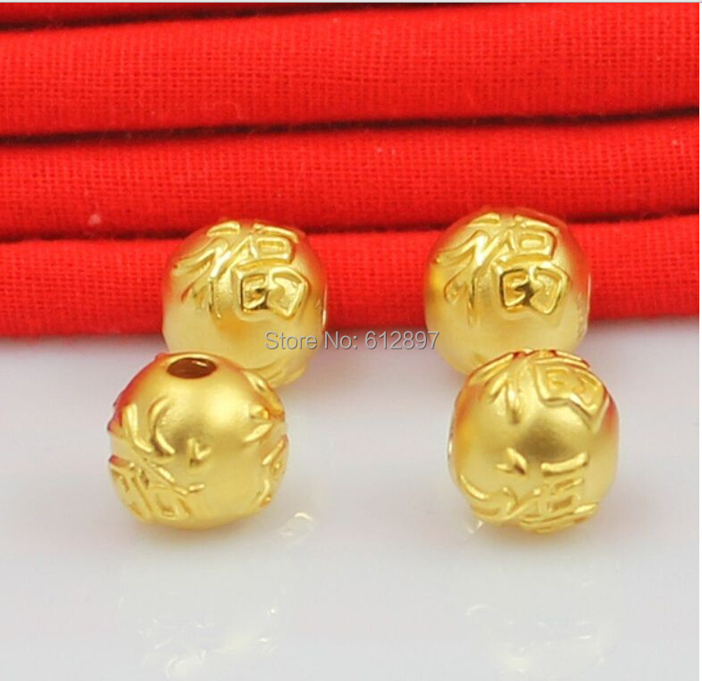 24K Yellow Gold Pendant / 3D Bless Big Round Loose Bead Pendant / 1.2G 1PCS classic new 10pcs 999 24k yellow gold pendant sandstone loose bead pendant