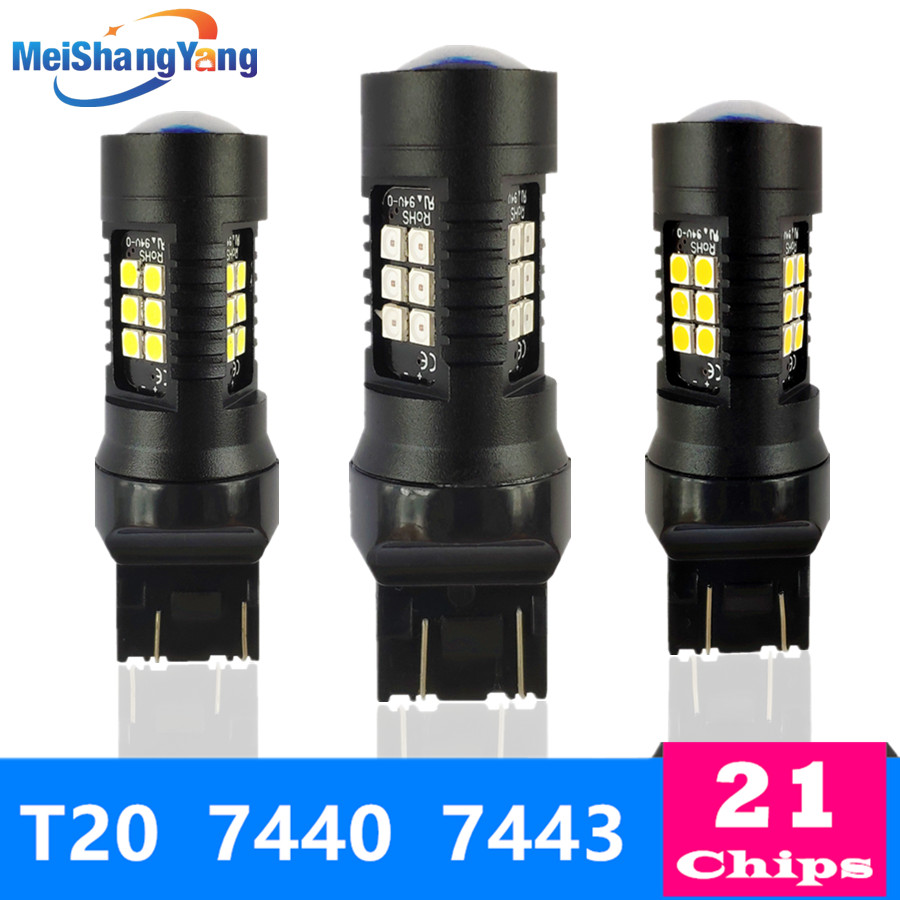 1200Lm T20 W21W LED W21 5W LED WY21W 7440 7443 LED Bulb T25 3157 3156 p27 7w Car Brake Reverse Light 12V Lamp Turn Signal 24V in Signal Lamp from Automobiles Motorcycles