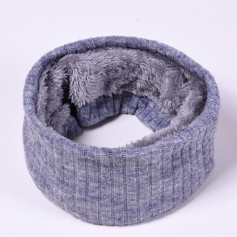 Scarves Neck-Warmers Knitted-Ring Fleece Thick Winter Solid-Color Men for Hijab Soft