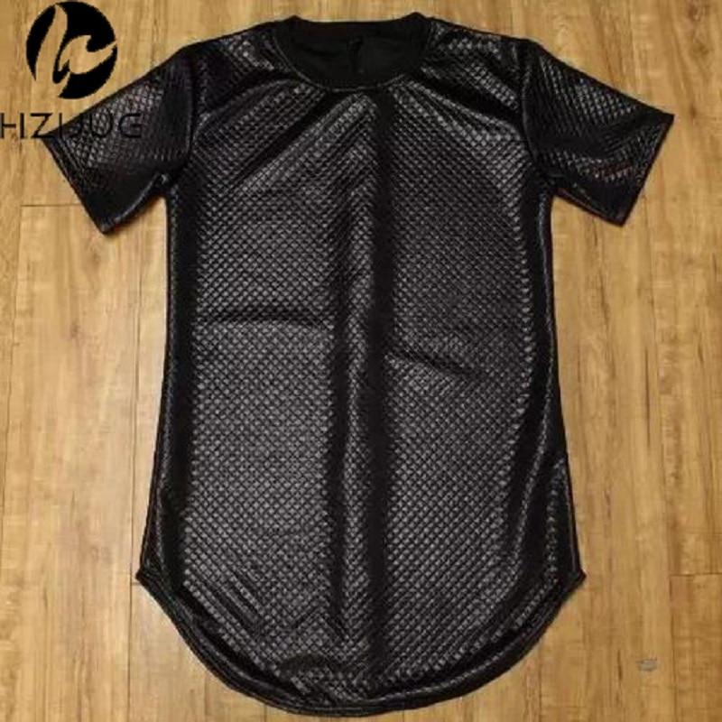 HZIJUE side zipper Men plaid Black new short Sleeve t shirt Faux Leather men hip hop clothing Kanye Tee
