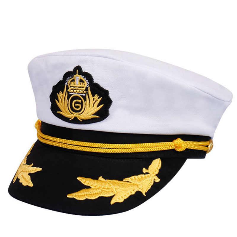 ca813124c 2019 New Men Women Cotton Sailor Captain Pilot Hat Costume Uniforms ...