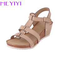 HEYIYI Women Sandals Platform Wedges Shoes Soft PU Leather Narrow Band Casual Lightweight Rivet Gladiator Round