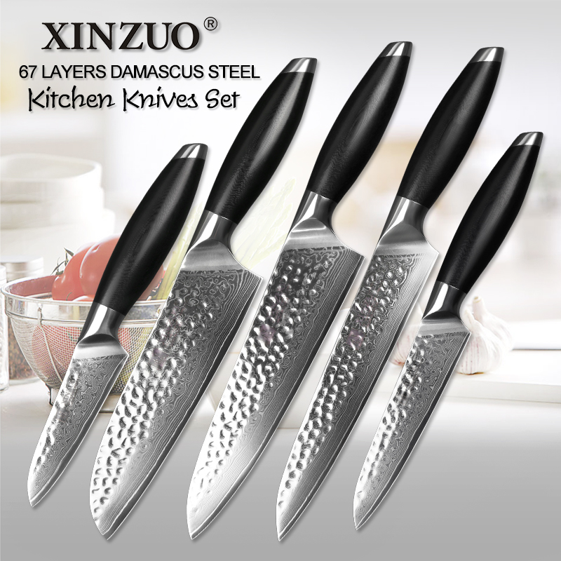 XINZUO 5 יחידות מטבח סכין סט שירות קילוף קופיץ דמשק מטבח שף אביזרי סכין יפני VG10 פלדת סכיני מטבח