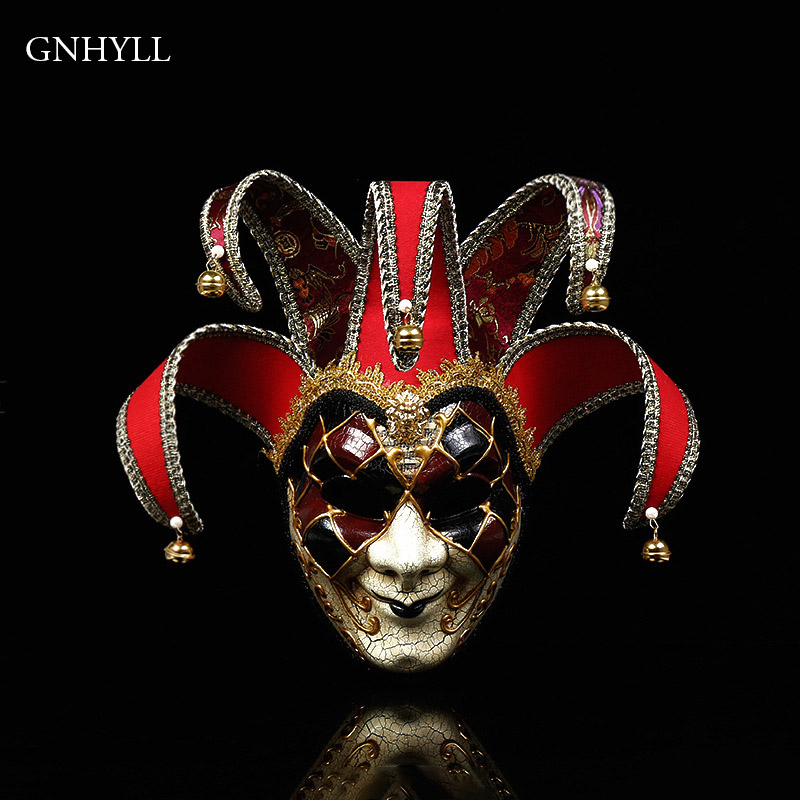 Newly Halloween Venetian Clown Masquerade Masks Europe With Bells Cosplay