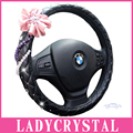 """Ladycrystal Pink Flowers Bling Diamond Crystal Rhinestone Leather Steering wheel cover For BMW 15"""" Cute Steering wheel covers"""