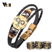15201edfc647 Vnox 12 horóscopo pulsera de cuero de la joyería de los hombres Vintage  Retro pulsera de encanto de hombre joyería 8