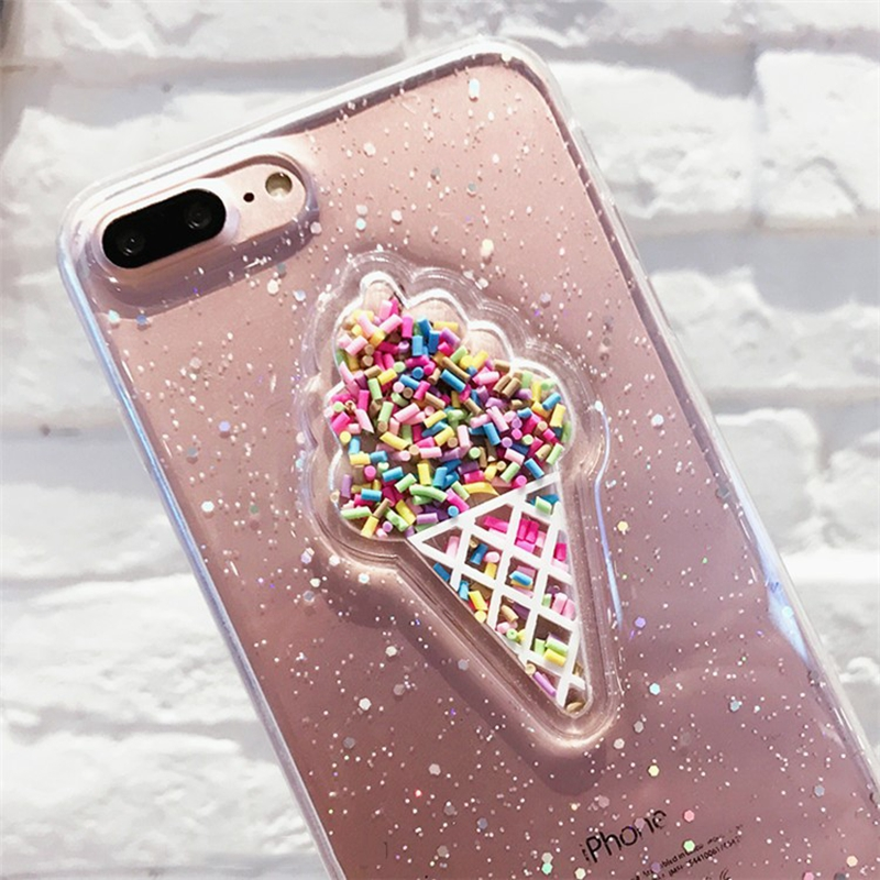 3D Dynamic Ice Cream Phone Case For iphone X XS Max XR 6 6s 7 8 Plus Case Fashion Glitter Bling Back Cover Lovely Cases Capa in Fitted Cases from Cellphones Telecommunications