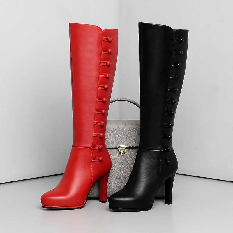 Сапоги из натуральной кожи; женские сапоги до колена; сапоги на высоком каблуке; Зимние Модные пикантные женские высокие сапоги; цвет черный, красный; обувь на молнии; 2019