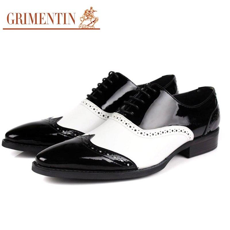 190197063 Negro De And Black Masculinos Moda Italiana Oxford Y Hombres Genuino White Cuero  Zapatos Boda Blanco Grimentin pqdxYp
