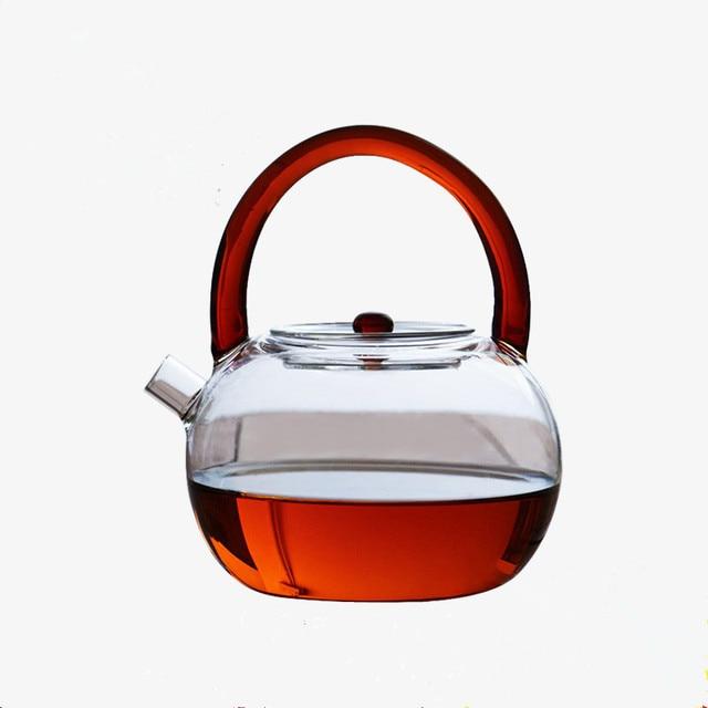 Tetera original resistente al calor de vidrio con forma de manzana, juego de té de flores, tetera Puer, tetera de café de 780ml