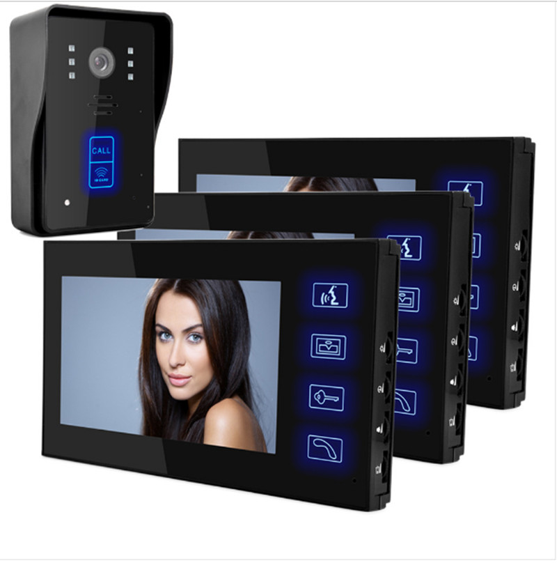 7 Inch  Touch Screen Intercom Video Door Phone ID Card Access Control With Three Monitor 8 4 8 inch industrial control lcd monitor vga dvi interface metal shell open frame non touch screen 800 600 4 3