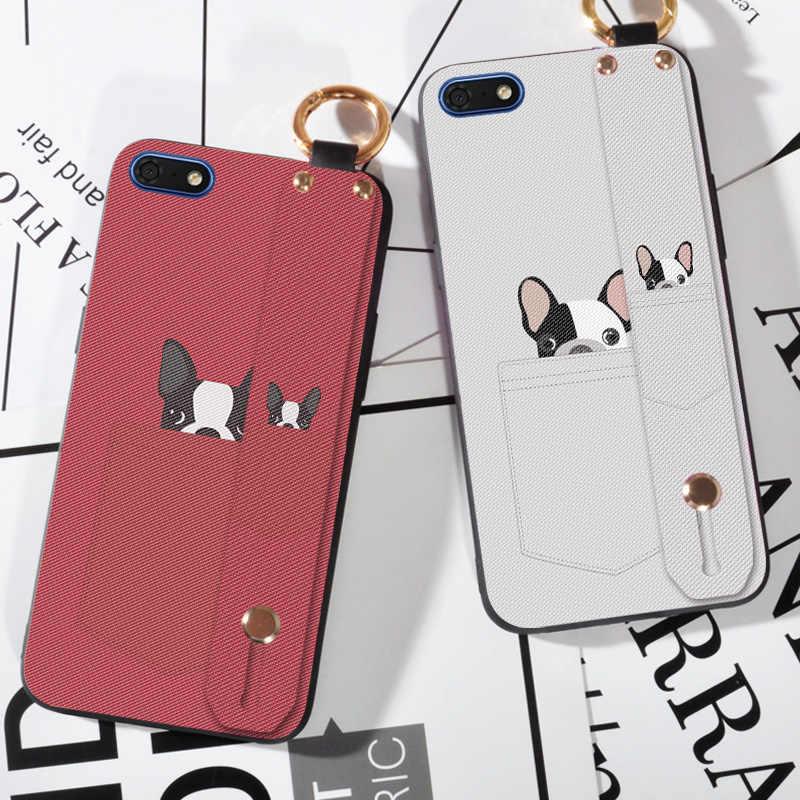 Мягкий чехол для телефона из ТПУ на ремешке Huawei Y5 Y6 Prime Y9 2018 милый с карманом и