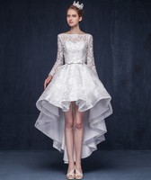 Real Photo White Original Design Elegant Cocktail Dress Long Sleeves Sweet Flowers Party Gowns Short Dresses High Low