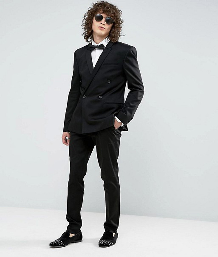 Double Breasted Suit Black Man Suit Skinny Groom Tuxedos Groomsman ...
