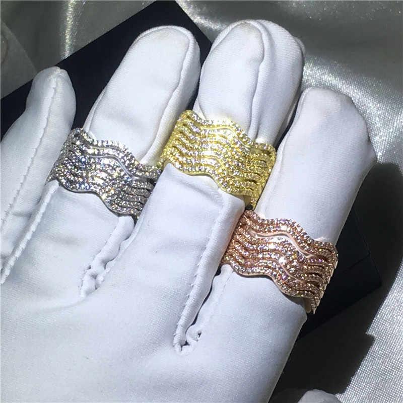 3 màu sắc 7-trong-1 nhẫn Pave thiết lập AAAAA Cz Tinh Thể Vàng Đầy Đảng cưới nhẫn nhạc cho phụ nữ Người Đàn Ông Bán Buôn Đồ Trang Sức