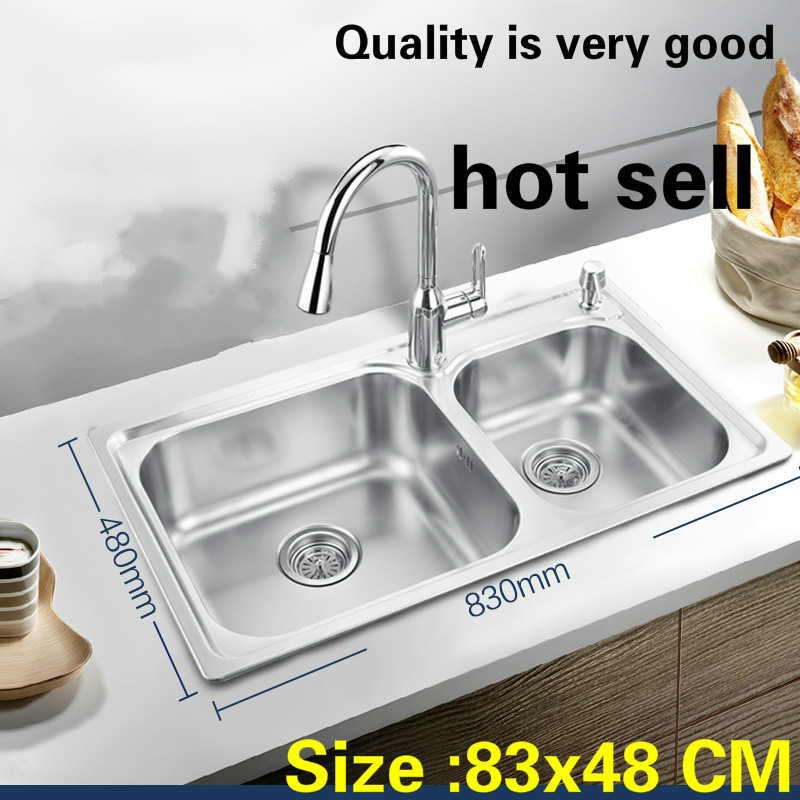 Free Shipping Standard Kitchen Double Groove Sink Big Durable 304 Food Grade Stainless Steel Wash The Dishes Hot Sell 83x48 CM