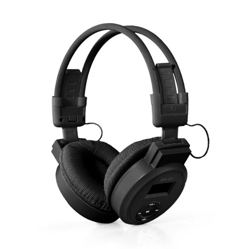 EDT-Black Mini Sports Headphone Headset MP3 Player Support Micro SD TF + FM Radio