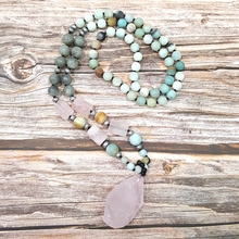 Lii Ji Natural Amazonite Labradorite Rose Quartz Pendant Bohemia Long Necklace Hand Made Jewelry Drop Shipping