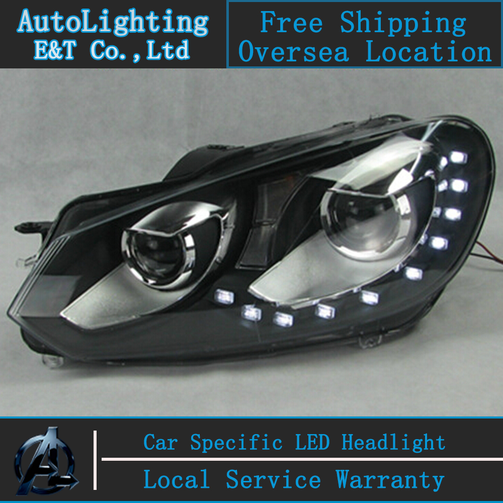 Car styling LED Head Lamp for VW Golf 6 led headlight assembly 10 LED GIT R20 Angel eye led drl H7 with hid kit 2 pcs. car styling head lamp for bmw e84 x1 led headlight assembly 2009 2014 e84 led drl h7 with hid kit 2 pcs